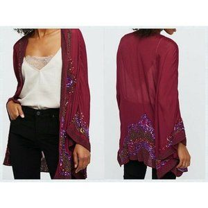 Free People RARE Time to Shine OS Embellished Sequin sheer Red Wine Kimono